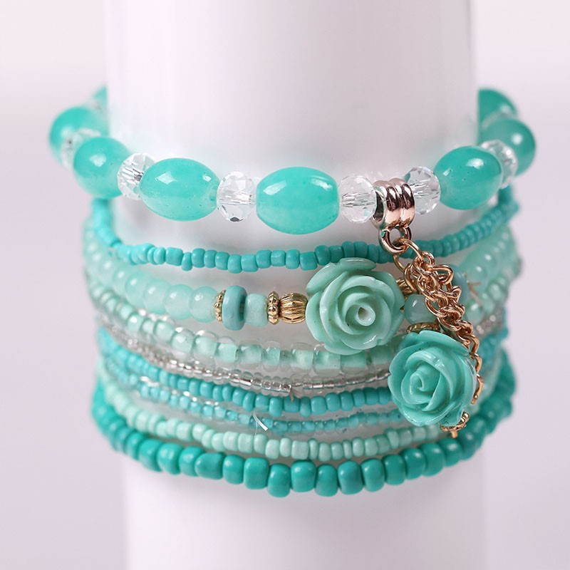Multilayer Permen Warna Kristal Beads Gelang Set Untuk Wanita - Perhiasan fashion - Foto 3