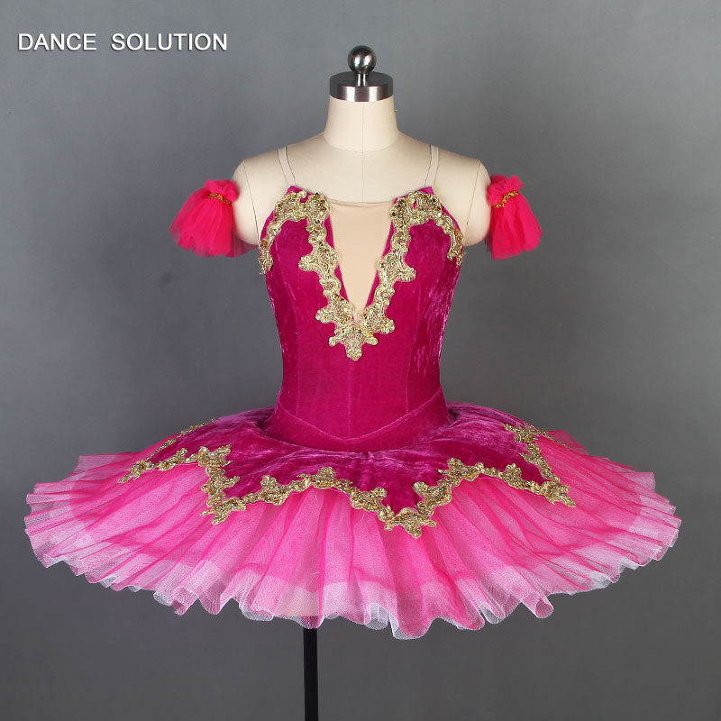 Hot Pink Velvet Bodice With Nude V Neck Pleated Tutus Adult Professional Ballet Tutu -6111
