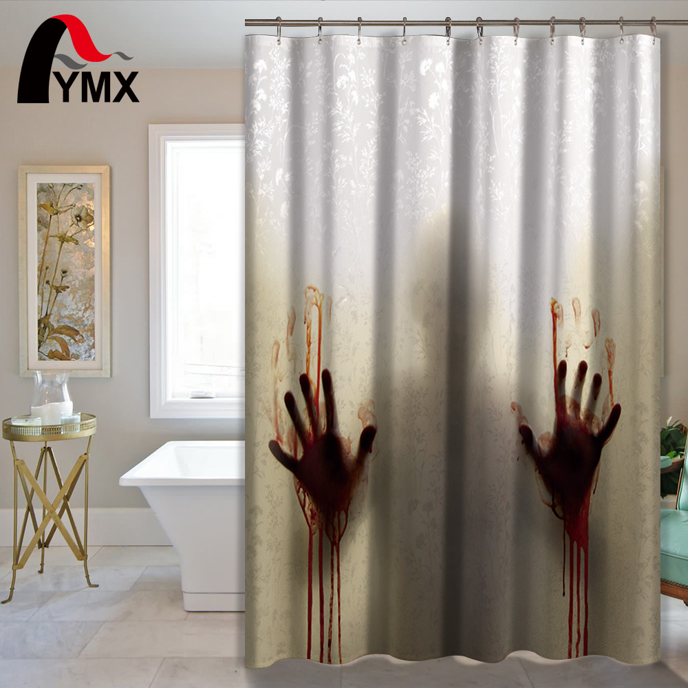 online get cheap horror shower curtain aliexpress com alibaba group horror waterproof shower curtain bathroom curtain polyester with 12 hooks bath shower creative halloween products home