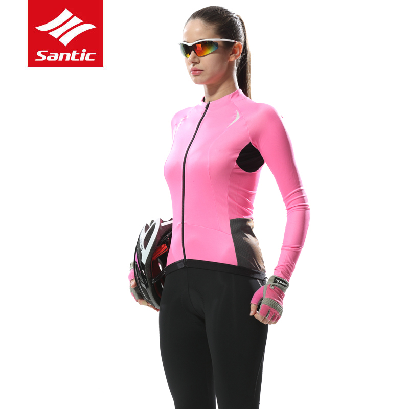 Santic UV Sun Protection Women Cycling Jersey Long Sleeve Breathable MTB Road Bike Jersey Spring Summer Quick Dry Bicycle Tops(China)