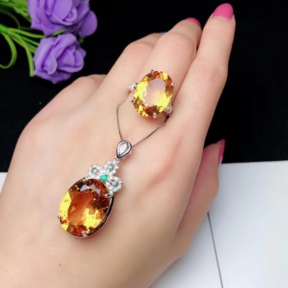 Jaune mode citrine anneau et collier ensemble de bijoux 925 en argent sterling bijoux fins jaune vif cadeau de fête d'anniversaire
