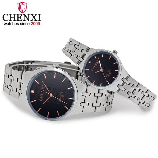 CHENXI Brand Fashion Dress Women Watch Men Quartz Wristwatch Full Steel Rhinesto