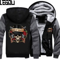 USA SIZE Rock Music Guns N Roses Winter Fleece Coat Print Hoodies Thicken Sweatershirts Unisex
