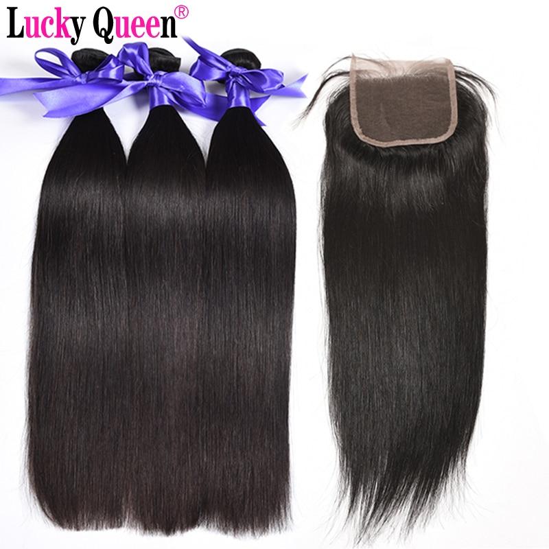 Produk Rambut Ratu Berry Brazil Rambut Lurus Bulat Dengan Penutupan - Rambut manusia (untuk hitam)