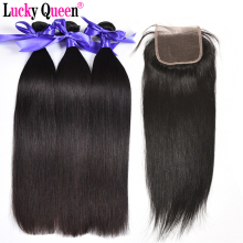 Lucky Queen Hair Products Brazilski ravni kose Bundle sa zatvaranjem 4pcs / lot 100% Ljudski kose Bundle s zatvaranjem bez prolijevanja
