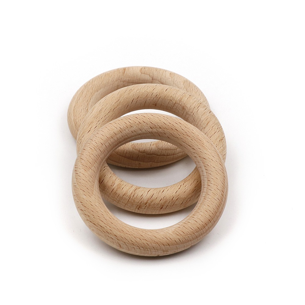 JOJOCHEW 70mm  Fine Quality Natural Wood Teething Beads Wooden Ring Children Kids DIY Wooden Jewelry Making Crafts 2pcs