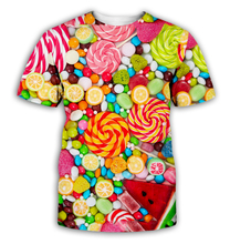 Candy 3D Men Women Short Sleeve Printed T-Shirt Colorful  Couples Clothes Best Selling unisex Tee Lollipop CA005