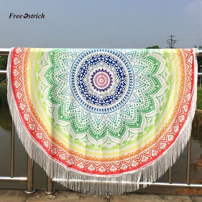 Bohemian Round Hippie Tapestry Beach Throw Tassels Indian Mandala Towel Yoga Mat