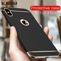 Étui pour iphone 6 6 6S 7 8 Plus X S XS 5 5S SE de luxe noir mat dur 360 Protection complète coque arrière amovible 3 en 1 pour iphone 7