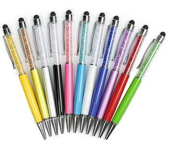 Diamond Crystal Ballpoint Pens + Capacitive Stylus Pen 2 in 1 Novelty Metal Zakka Touch Ballpen Stationery Gifts personalized with wedding date bride and bridegroom names wedding favors diamond ballpoint pens crystal capacitive pen