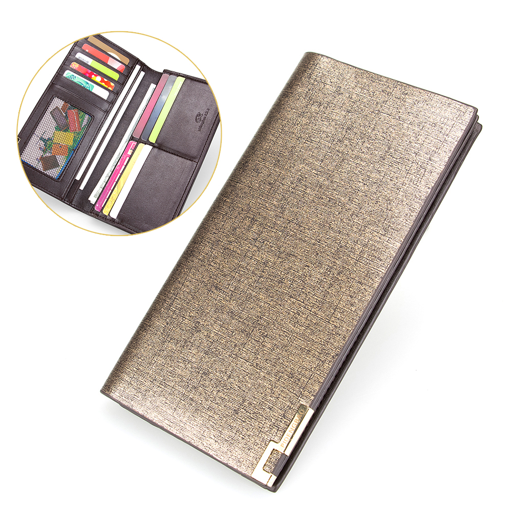 New Gold Frosted Leather Wallet Mans Long Wallet Classic Bifold Wallet Photo Card Holder Money Purse Men Business Wallet