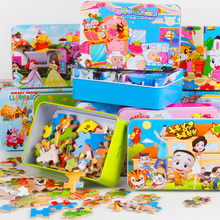 Iron Box Cartoon Wooden Puzzles for Children