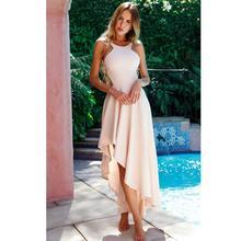 купить 2019 New Yfashion Women Summer Chic Braces Thin Waist Irregular Hem Solid Color Dress дешево