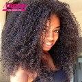 Superior Malasio Afro Rizado Rizado Sin Cola Peluca Llena Del Cordón Del Pelo Humano pelucas Para Las Mujeres Negras, Pelucas Del Frente Del Cordón Del Pelo Humano Con El Pelo Del Bebé