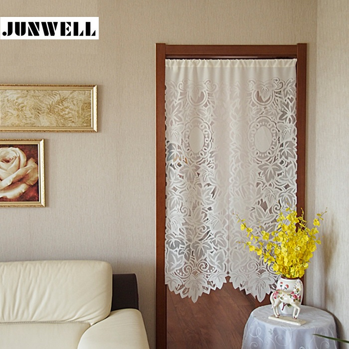 Junwell White Jacquard Window Curtain Door Curtain Tulle Balcony Kitchen Window Curtain Blind 1pc
