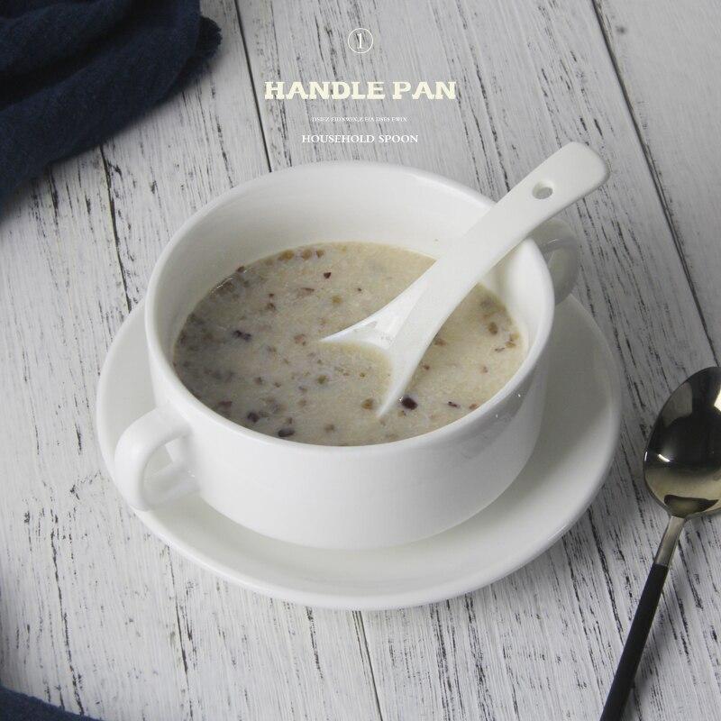 Best 4 45 White Ceramic Double Handle Salad Soup Bowl