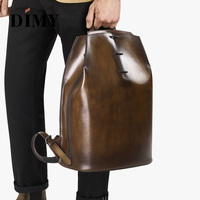 DIMY Hand Patina mochila Men Calfskin Genuine Leather Backpack Bag Male Luxury Printing Vintage Laptop Backpacks 15 inch #DM8391