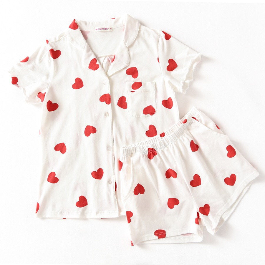 Summer Turn down Neck Print Red Love 100% Cotton Front Shorts   Pajama     Set   2018 New Woman Short Sleeve Casual Lovely   Pajamas   Se