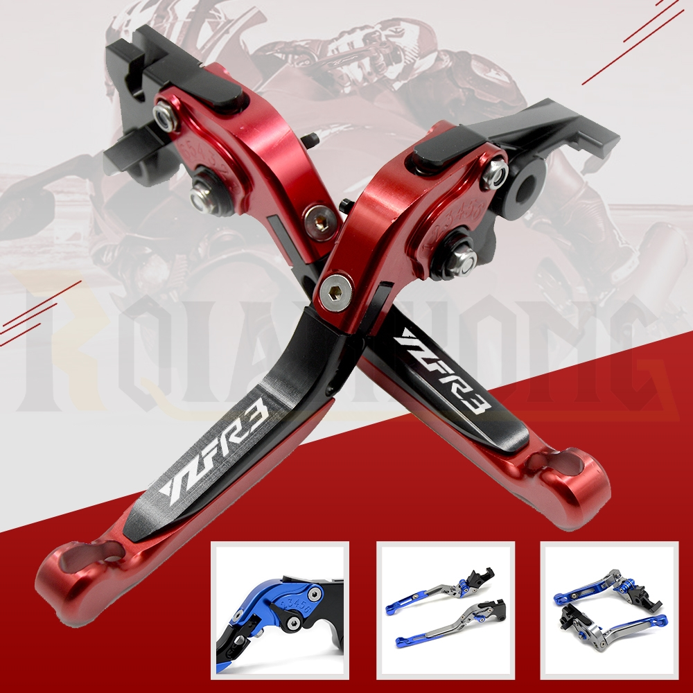 For YAMAHA YZF R3 2015-2017 Brake Clutch Levers Motorcycle CNC Aluminum Adjustable Hand Grips Handle YZF R3 logo