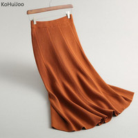 KoHuiJoo 2018 Auitumn Winter Women Long Knitted Skirts Solid High Waist Elastic Waist A line Sweater Woolen Skirt Casual Lady