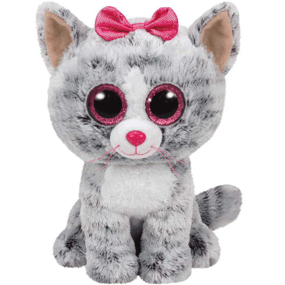 """Pyoopeo Оригинал Ty Boos 10 """"25 см Kiki Серый/Белый Кот плюшевый Средний чучело Коллекционная мягкая большие глаза плюшевая кукла игрушка"""