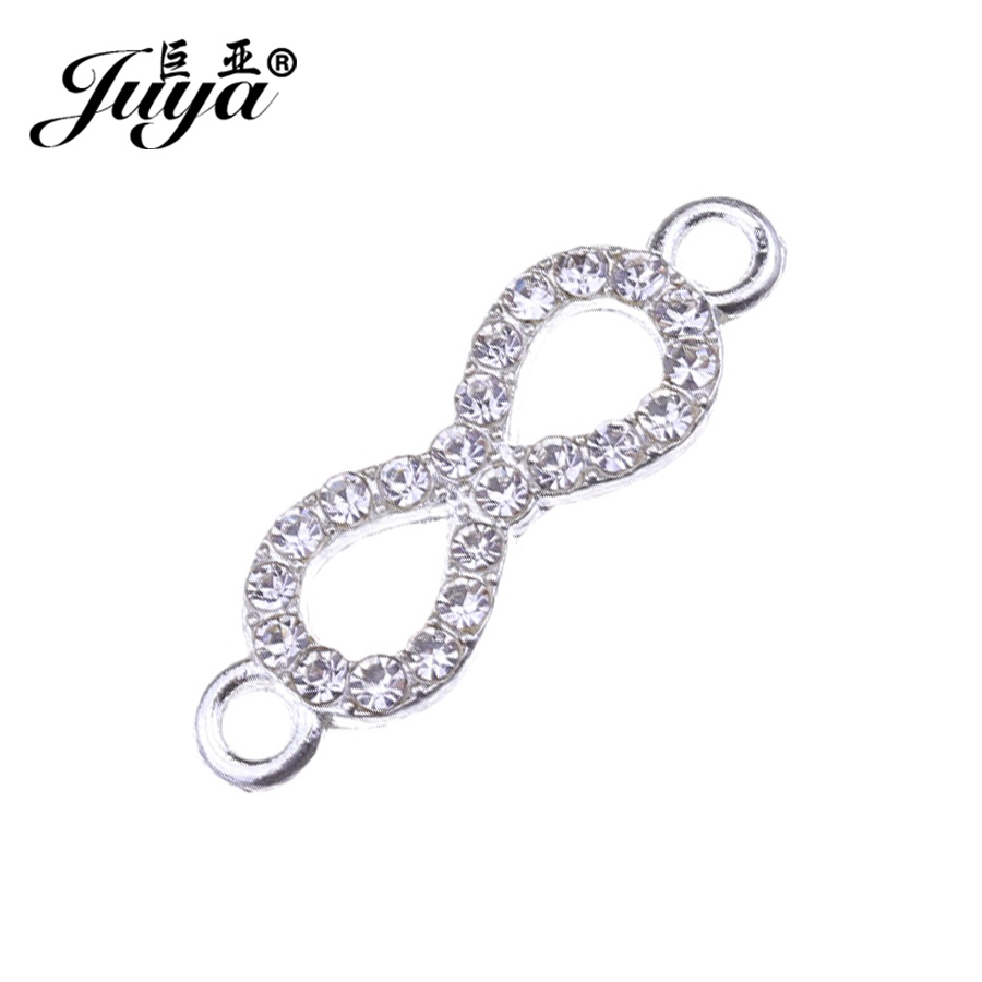 JUYA High Quality silver infinity connector with CZ crystal 22x7.3mm jewelry DIY bracelet necklace crafts connectors CR0050