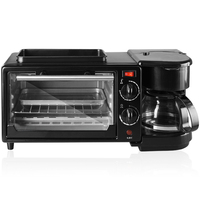 Multi functional Fully automatic household coffee machine electrical bread breakfast machine 3 in 1 maker bake oven fried egg