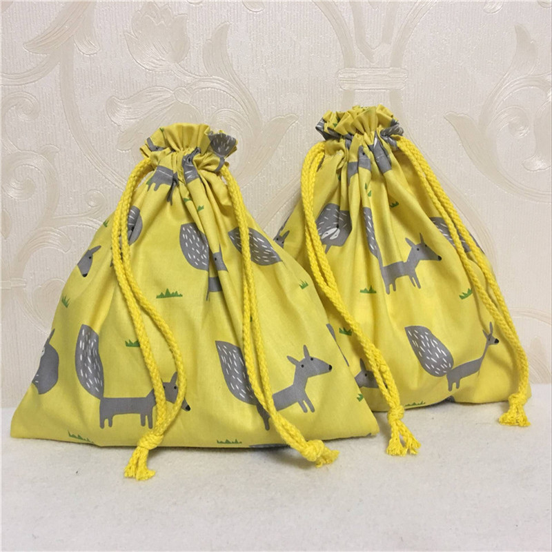 YILE Cotton Twill Drawstring Travel Sorted Organizer Bag Party Gift Pouch Grey Fox Yellow Base 8507-5