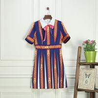 Beste Kopen Nieuwste Mode Vrouwen Apr13 Zomerjurk Europa Stijl Ontwerp Vintage Boog Print Korte party stijl jurk M1005