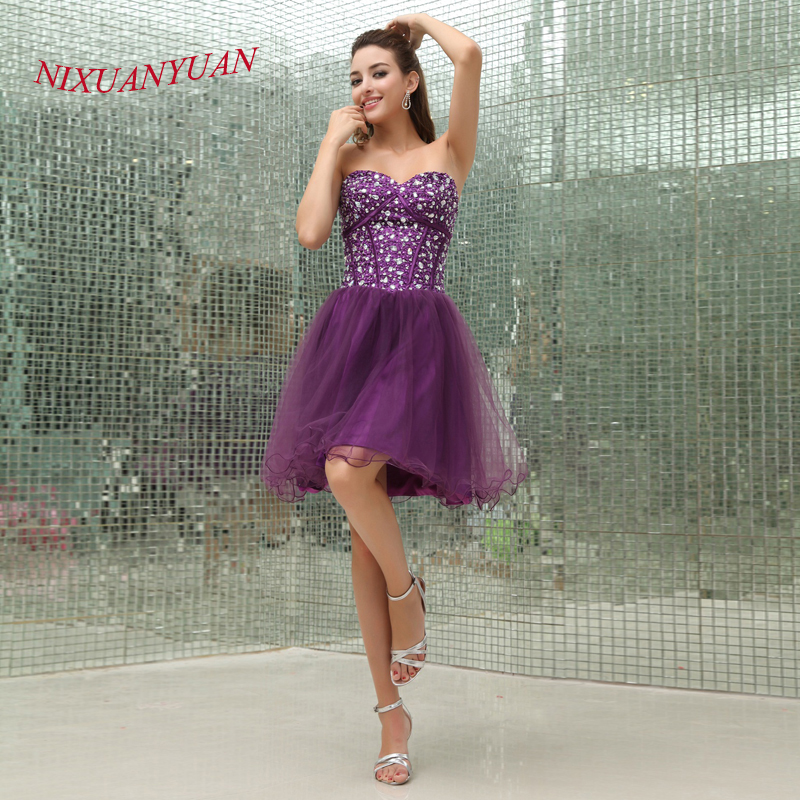 NIXUANYUAN 2017 New Purple Tulle Party   Dress   Sweetheart Crystal   Cocktail     Dresses   2017 Short vestidos de   cocktail   Real Photos
