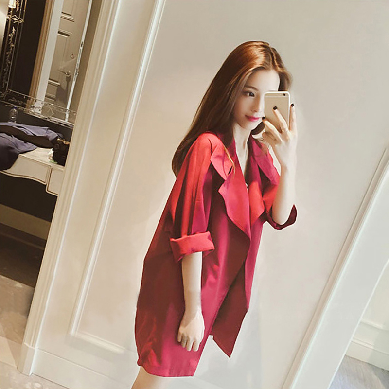 2018 New Trench Coat Women Autumn Casual Turn Down Collar Slim Cost 3 4  Sleeve Long ... 9132c9fded63