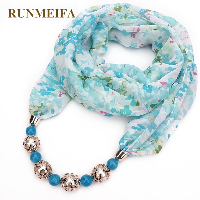 RUNMEIFA New Pendant Scarf Necklace Bohemia Necklaces For Women Chiffon Scarves Pendant Jewelry Wrap Foulard Female Accessories-in Women's Scarves from Apparel Accessories on Aliexpress.com | Alibaba Group