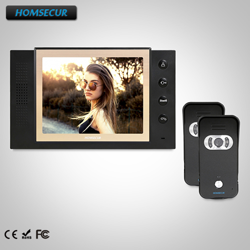 HOMSECUR 8 Wired Hands-free Video Door Phone Intercom System+Outdoor Monitoring  TC021-B + TM801-BHOMSECUR 8 Wired Hands-free Video Door Phone Intercom System+Outdoor Monitoring  TC021-B + TM801-B