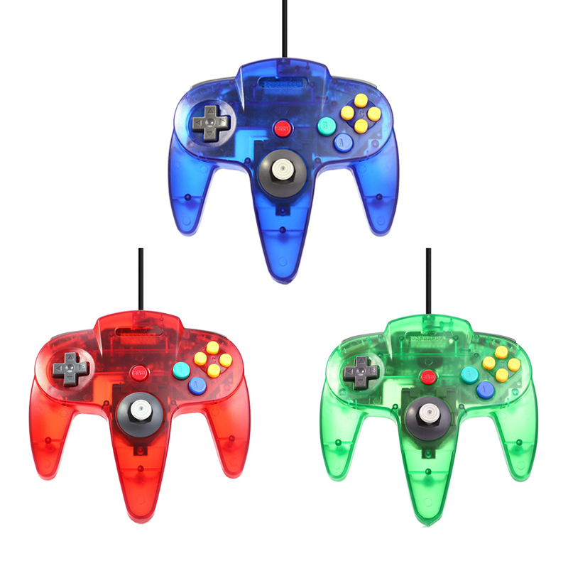 USB Wired Controller For Nintendo N64 Gamepad Transparent Clear Wired Joystick For Gamecube GC For N64