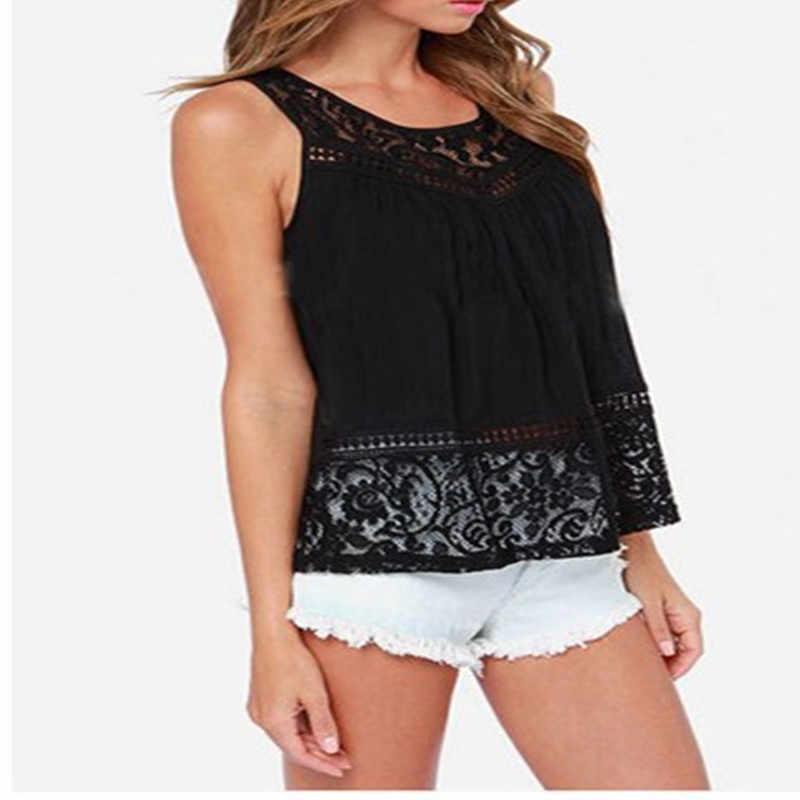 d05b624991ef ... S-5XL 2016 Summer Women Hollow Out Crochet Lace Tank Tops Fashion  Casual Sleeveless Black ...