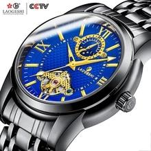 LAOGESHI 6002B mechanical mens watch steel belt waterproof top brand luxury gentleman tourbillon watches 2019 male wristwatch
