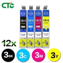 12PCS 18XL Ink Cartridges Compatible for EPSON XP305 XP402 XP405 XP102 XP202 XP205 XP30 XP305 XP405 XP212 Inkjet Printer