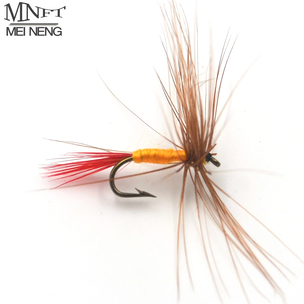 все цены на  MNFT 10PCS 12# Brown Hackle Red Tail May Fly Nymph Fresh Water Dry Fly Hooks Baits Tool Fishing Trout Flies Fish Hook Lures  онлайн