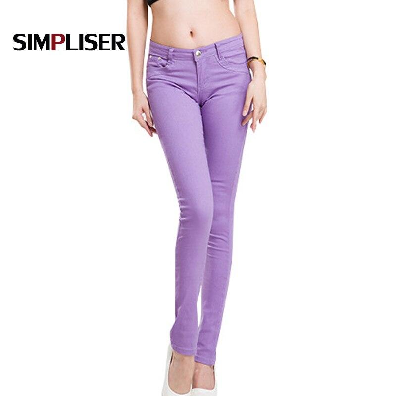 SIMPLISER Slim Women   Jeans   Pencil Pants 24 Candy Color Female   Jean   Leggings 2018 Female Trousers Large Size 32 Femme Pantalon