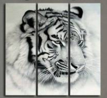 3 Panel Modern Black White Animal Tiger Lion Face HD Art Canvas Print Painting Poster Wall Pictures Home Decor