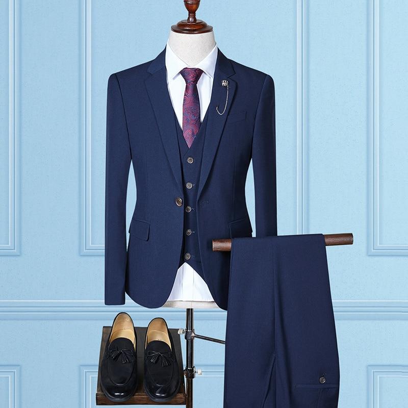 Gilet pièce Mode Confortable Mâle Haute marine de Rom Qualité kaki Trois Loisirs Gauche Noir Blazers Bleu Costumes 2018 Homme Pantalon veste Affaires gris Un Avdpqww
