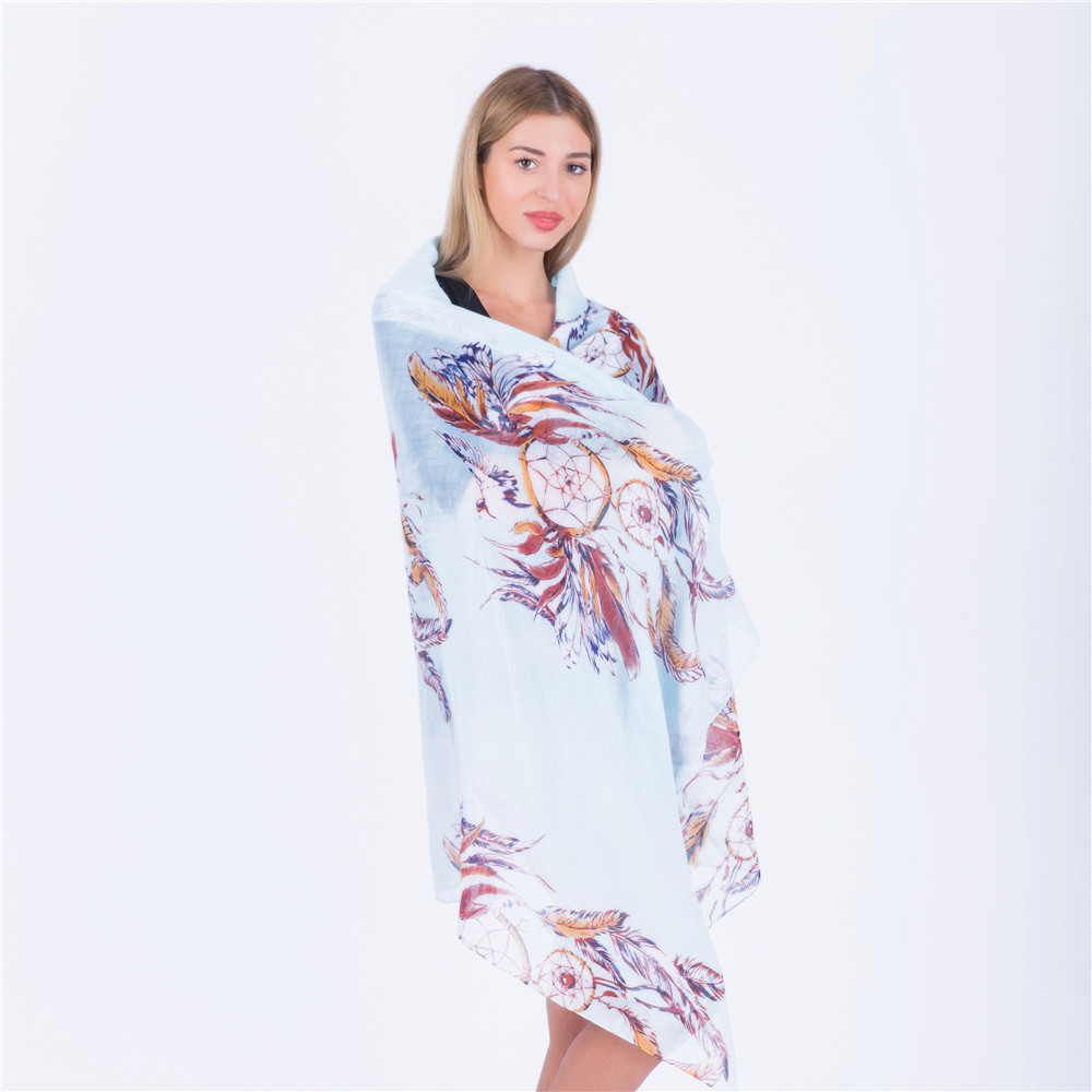 Jinjin QC Lightweight Feather Printed Scarf Women Viscose Scaves and Shawls Echarpe Foulard Femme Jilbab Instan Muslim Hijab in Women 39 s Scarves from Apparel Accessories