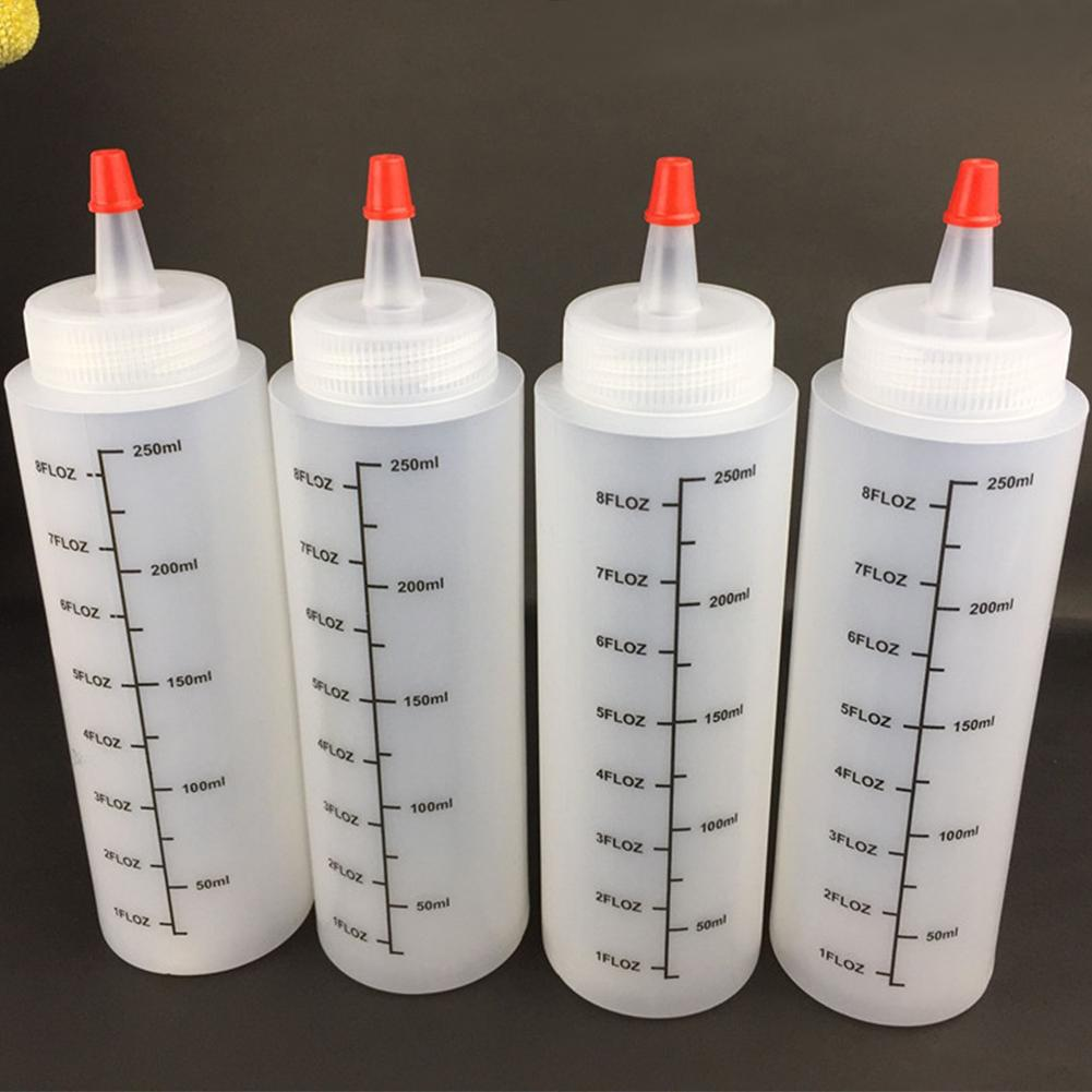 5PCS 250ML Plastic Needle-nosed Bottle With Scale Squeeze With Leak-Proof Cap Sauce and Salad Bottle Squeezable Bottle image