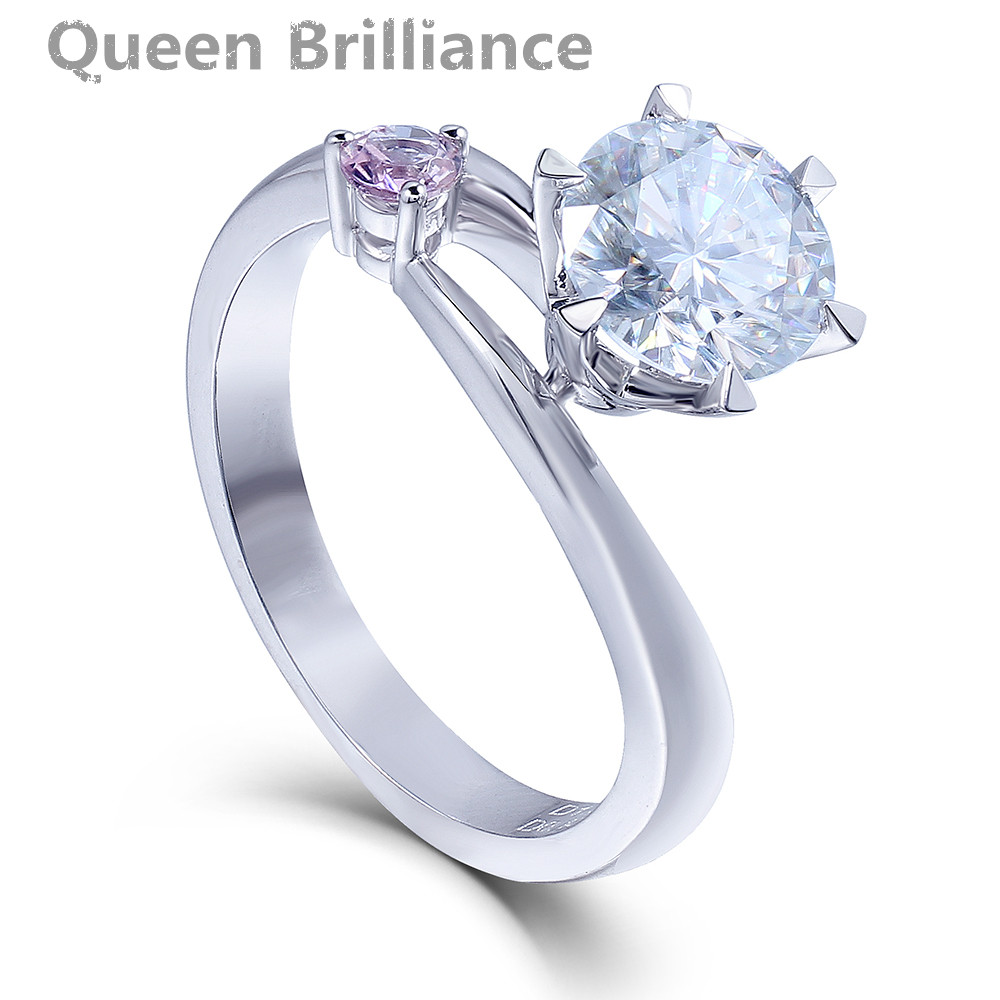 1.5 Quilates quilates F Color Laboratorio Crecido Moissanite anillo de Compromiso Anillo de bodas Con Zafiro Rosa Acentos Genuino 14 K 585 Blanco oro