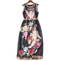 XF2018 Latest Fashion Designer Summer Bohemian Women'S Round Neck Vest Dress Oil Painting Angel Patch Lettering Print Slim Dress