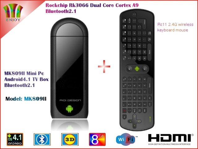MK809II Android 4.1.1 Mini PC TV Stick Rockchip RK3066 1.6GHz CortexA9 Dual core 1GB/8GB with Bluetooth + Measy RC11 Air Mouse
