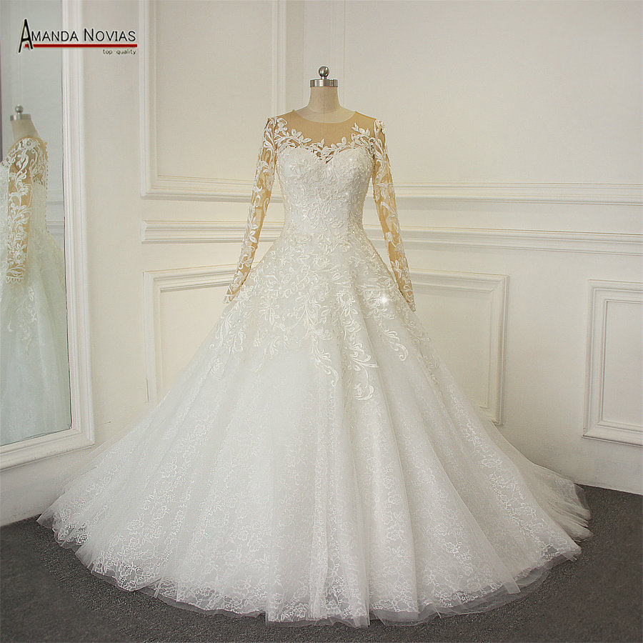 2019 Long Sleeve Lace Appliques A Line Wedding Dresses Real Samples