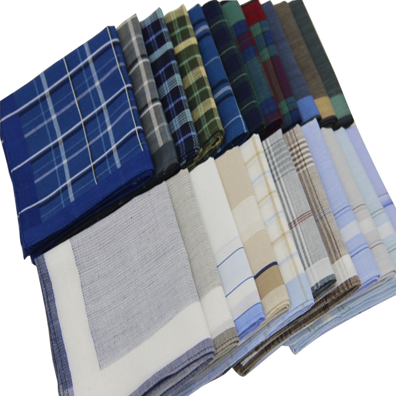 5pcs/lot Classic Men Handkerchief Cotton Check Pocket Square Hanky Sweat Absorbing Handkerchiefs