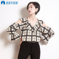 Women's Spring Summer Plaid V neck strapless Sling long sleeved chiffon top shirt,Personality Frilled Blouse Top Size S L