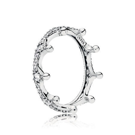 97336df77 ... discount code for authentic 925 sterling silver original enchanted  crown pandora ring with clear cz for